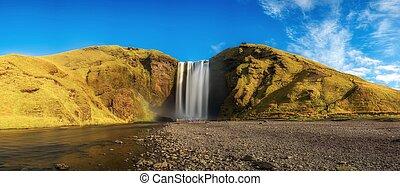 Skogafoss waterfall panorama in southern Iceland