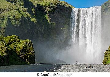 Skogafoss waterfall - Blurred tourists under Skogafoss...