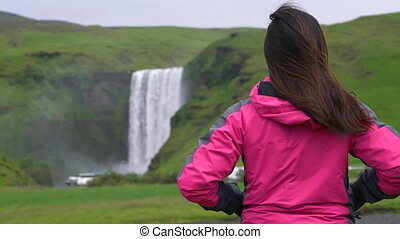 skogafoss, wodospad, iceland., podróż, podróżnik