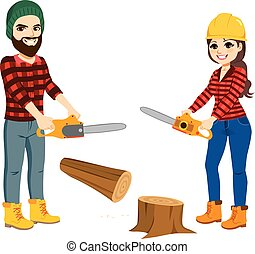 skogshuggare, arbeta