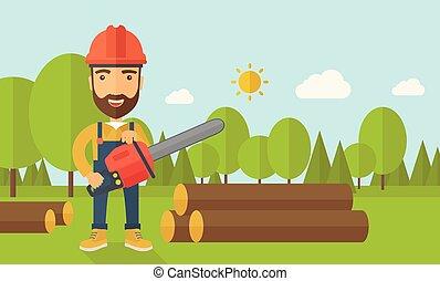 skogshuggare, träd, motorsåg, skärningarna
