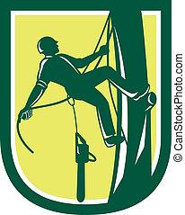 skogshuggare, träd, retro, klättrande, arborist, kirurg