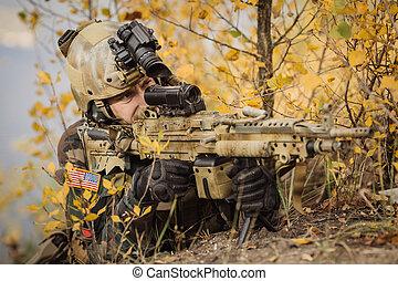 skogvaktare, mål, och, filma, a, gevär