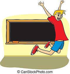 skok, chłopiec, szkoła, -, radość