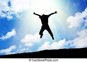 skok, niebo, człowiek