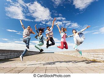 skokowy, grupa, nastolatki