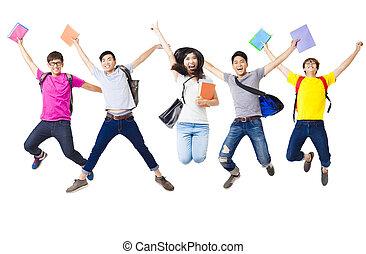 skokowy, grupa, student, razem, szczęśliwy
