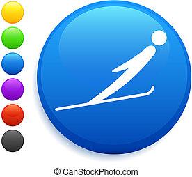 skokowy, guzik, ikona, okrągły, narta, internet
