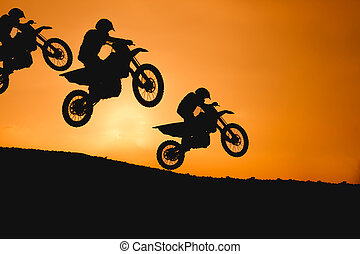 skokowy, sylwetka, motocykl