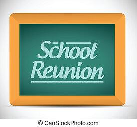 skola, återförening, meddelande, skriftligt, chalkboard