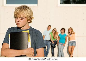 skola, översittare, grupp, mobbing, lonley, unge