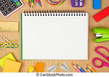 skola, anteckningsbok, school., ram, tom, baksida, mot, ved, space., bakgrund, skrivbord, skaffar, avskrift