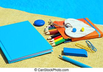 skola, anteckningsbok, supplies.