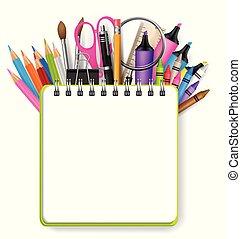 skola, begrepp, bakgrund, utrymme, text, vektor, design, notebook., skaffar, ringa, utbildning, template., tom, illustration.