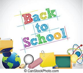 skola, begrepp, utbildning, baksida, illustration