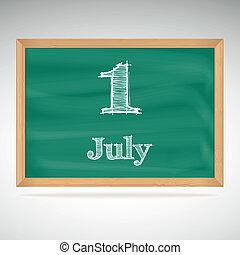 skola, bord, dag, kalender, datera, juli, 1