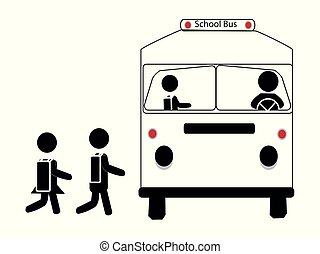skola, enkel, buss, deltagare, vektor, ikon