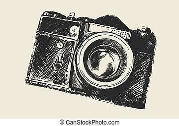 skola, gammal, fotografi