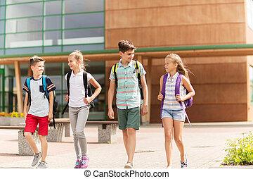 skola, grupp, deltagare, vandrande, elementär, lycklig