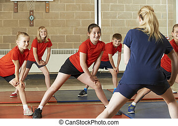 skola, gymnastiksal kategori, tagande, lärare, övning