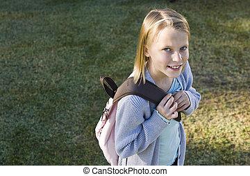 skola, henne, elementär, flicka, bookbag, lycklig