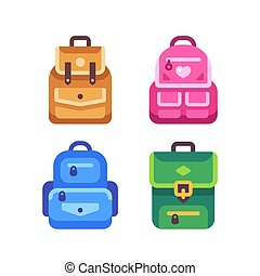 skola, ikon, illustration, baksida, ryggsäck, set., lägenhet, unge