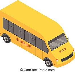 skola, isometric, buss, stil, liten, ikon