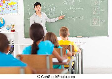 skola, kinesiskt tungomål, elementär, undervisning, lärare