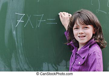 skola, klassificerar, flicka, matematik, lycklig