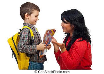 skola, konversation, son, dag, första, mor