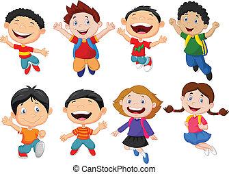 skola, lycklig, tecknad film, unge