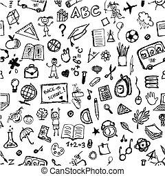 skola, mönster, hand, design, oavgjord, din