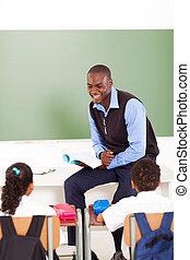 skola, manlig lärare, afrikansk, primär