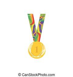 skola, medalj, symbol, till, intelligent, student, isolerat, vita, bakgrund., vektor, illustration.