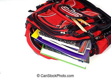 skola, ryggsäck, röd