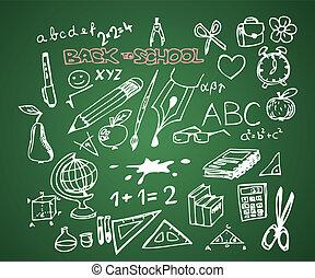 skola, sätta, klotter, -, baksida, vektor, illustrationer