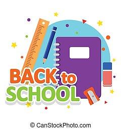 skola, sätta, sharpener, linjal, anteckningsbok, radergummi, blyertspenna