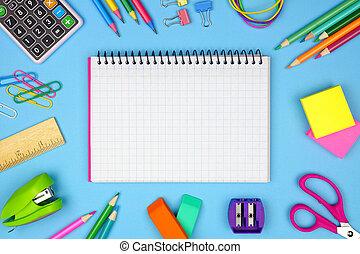 skola, school., blue., ram, baksida, space., papper, anteckningsbok, graphing, mot, tom, skaffar, avskrift