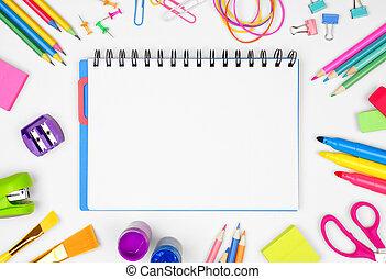 skola, school., ram, baksida, mot, anteckningsbok, space., bakgrund, tom, skaffar, vit, avskrift