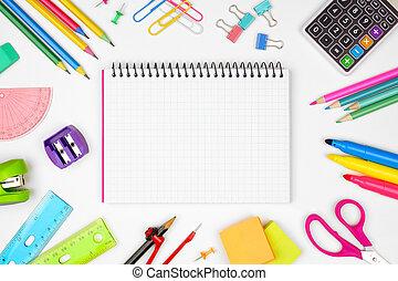 skola, school., ram, baksida, space., papper, anteckningsbok, graphing, mot, tom, skaffar, vit, avskrift