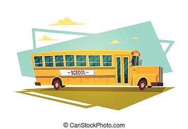 skola, september, buss, baksida, gul, 1, ridande