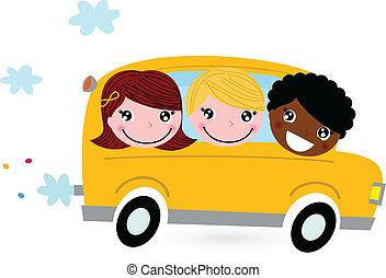 skola skämtar, buss, isolerat, gul, vit