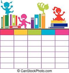 skola skämtar, tecknad film, böcker, tidtabell, leka