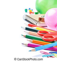 skola, skrivpapper, isolerat, över, vit