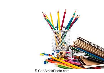 skola, skrivpapper, isolerat, vita, bakgrund