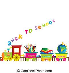 skola, tåg, baksida, illustration, tecknad film