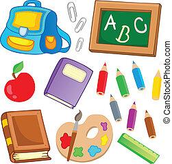 skola, teckningar, kollektion, 2
