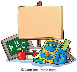skola, tema, med, trä planka