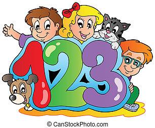 skola, tema, numrerar