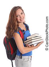 skola, tonårig, student, flicka, med, utbildning, böcker